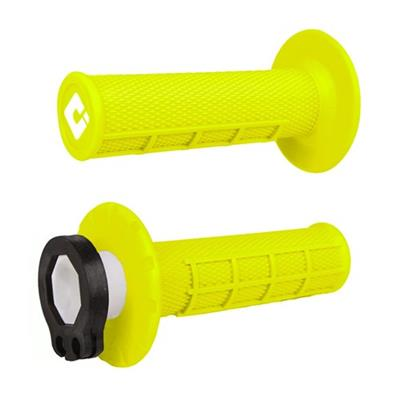 Half Waffle MX Lock-On Grip Set  Flo-Yellow